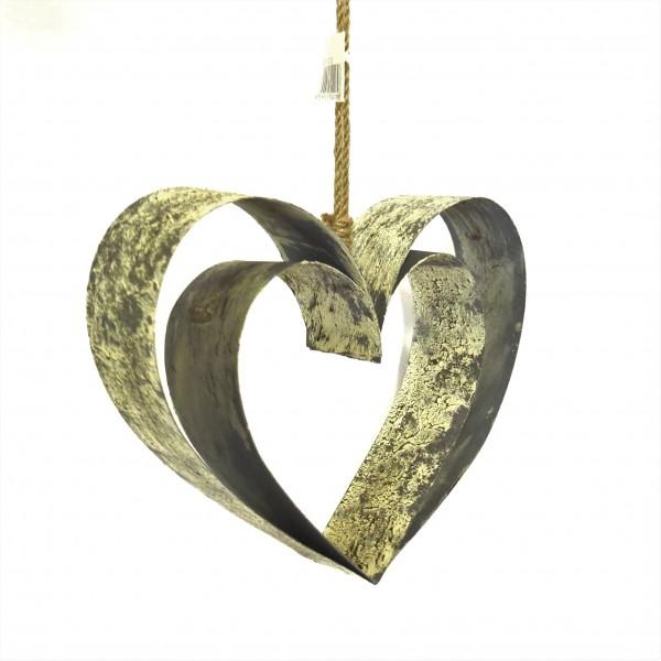 Herz Doppelherz Deko Hänger Eingang Shabby Metall Blech Antik Gerry´s Garden